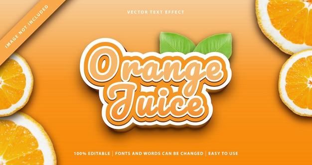 Efeito de texto de frutas de suco de laranja.
