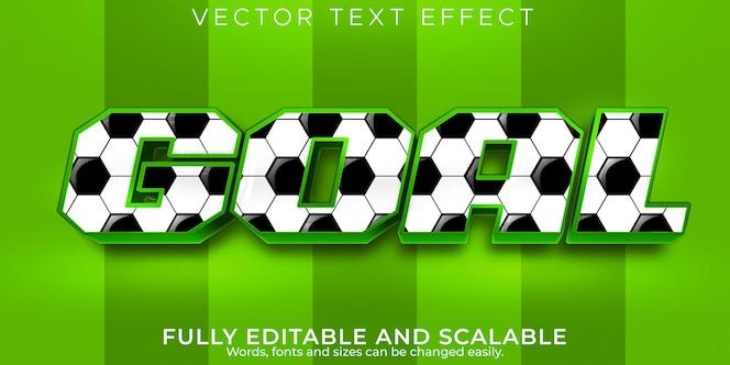 Efeito de texto de futebol do gol, futebol editável e estilo de texto de estádio