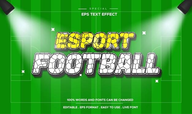 Efeito de texto de futebol esportivo editável com luz