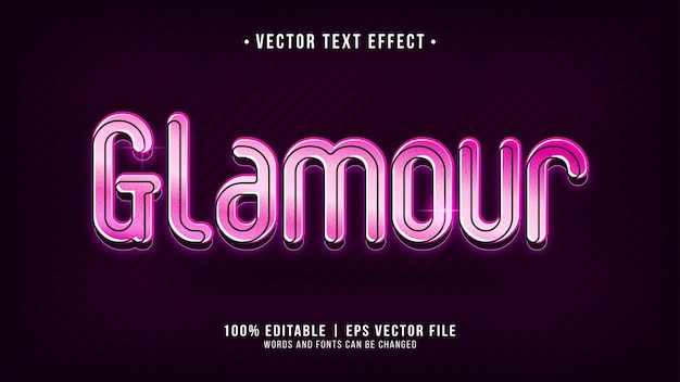 Efeito de texto de glamour com luz neon