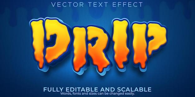 Efeito de texto de gotejamento, spray editável e estilo de texto de desenho animado