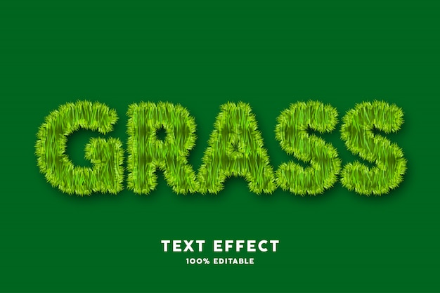 Efeito de texto de grama, texto editável
