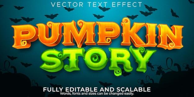 Efeito de texto de halloween, abóbora editável e estilo de texto assustador