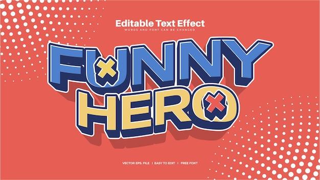 Efeito de texto de herói engraçado