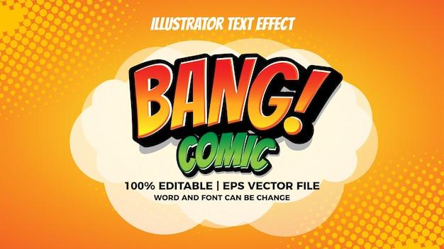 Efeito de texto de ilustrador em quadrinhos bang
