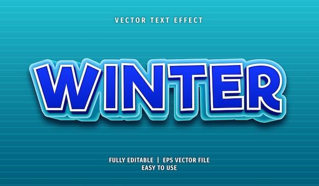 Efeito de texto de inverno, estilo de texto editável