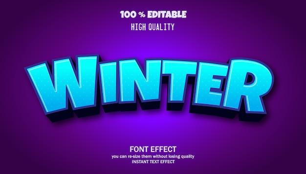 Efeito de texto de inverno, fonte editável