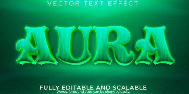 Efeito de texto de ioga de aura, meditação editável e estilo de texto espiritual