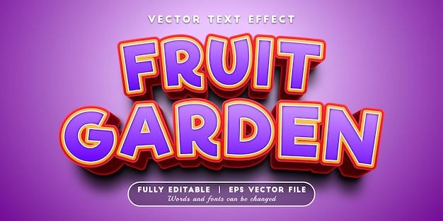 Efeito de texto de jardim de frutas com estilo de texto editável