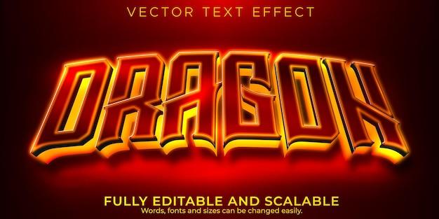 Efeito de texto de jogador de dragão, esport editável e estilo de texto neon