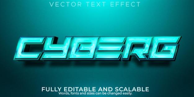 Efeito de texto de jogo cyborg, estilo de texto editável brilhante e espacial