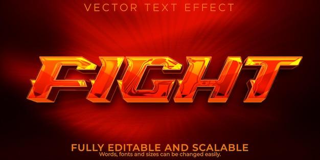 Efeito de texto de jogo de combate, estilo de texto editável de luta e boxe