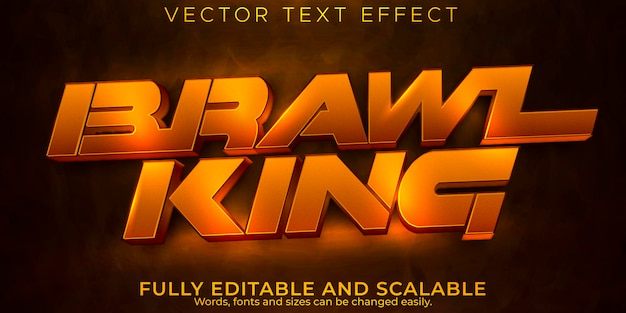 Efeito de texto de jogo de luta, estilo de texto editável de luta e boxe
