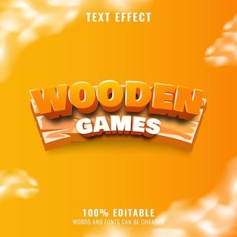 Efeito de texto de jogos de madeira engraçado perfeito para o logotipo e o título do seu jogo