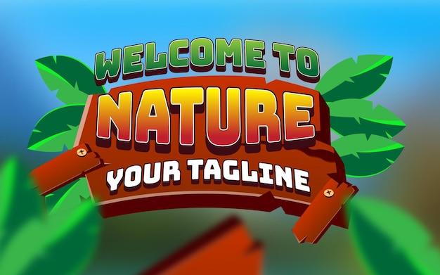 Efeito de texto de jogos de natureza editável