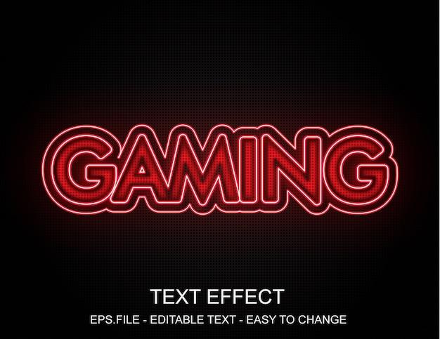 Efeito de texto de jogos de néon vermelho