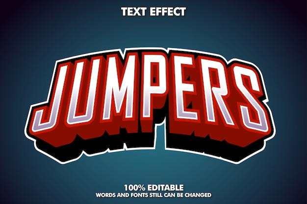 Efeito de texto de jumpers, estilo de texto de logotipo esport