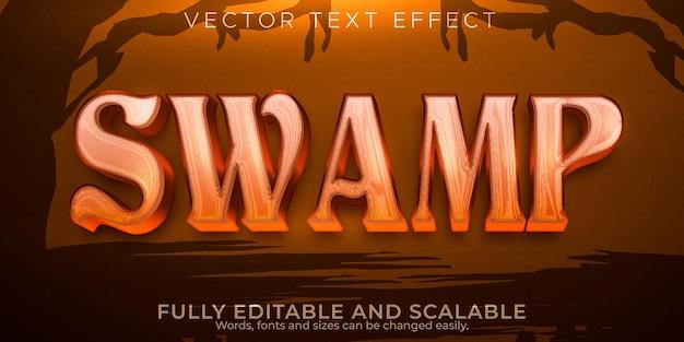 Efeito de texto de lama do pântano, magia editável e estilo de texto assustador
