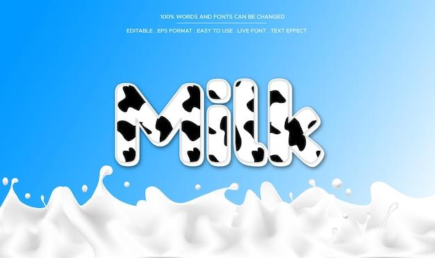 Efeito de texto de leite editável