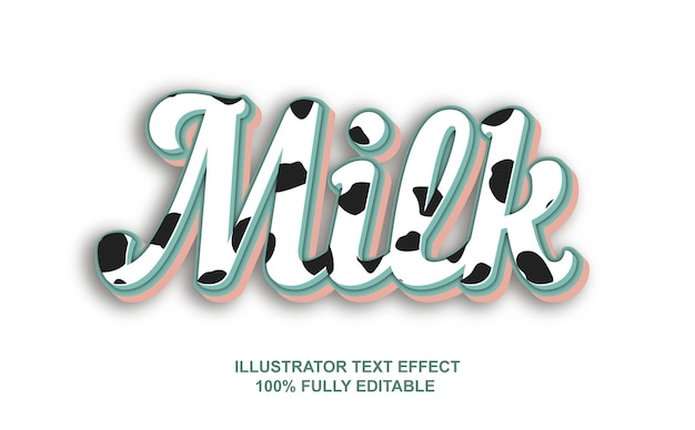 Efeito de texto de leite