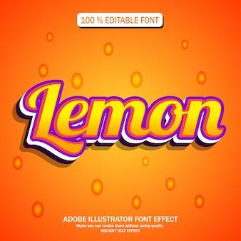 Efeito de texto de limão com cor laranja