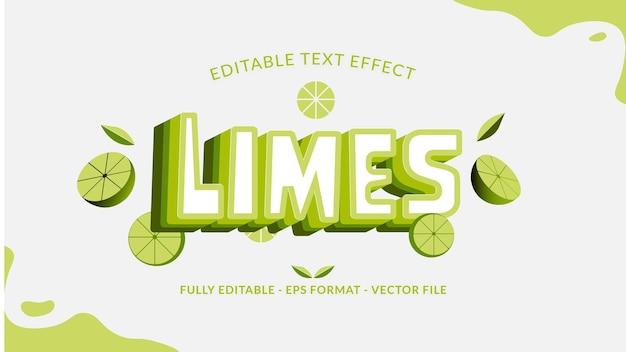Efeito de texto de limão fresco com uma fatia de limão e folhas como ornamento