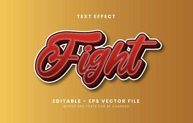 Efeito de texto de luta vermelho editável