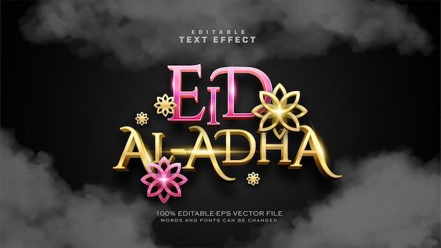 Efeito de texto de luxo eid al adha ou eid mubarak