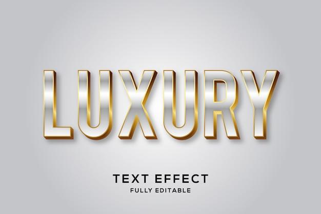 Efeito de texto de luxo premium em prata e ouro