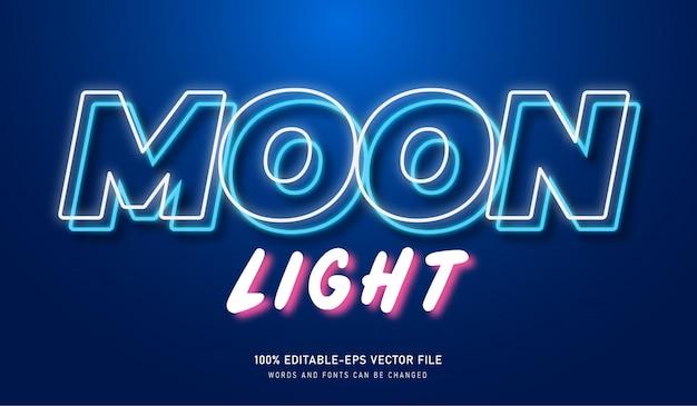 Efeito de texto de luz da lua com fonte editável com elemento neon