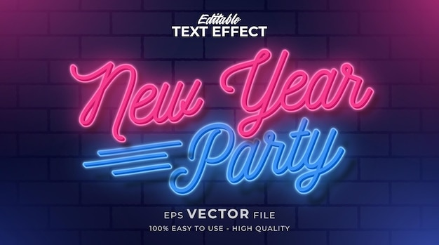 Efeito de texto de luz de néon de ano novo, estilo de texto retro e brilhante editável