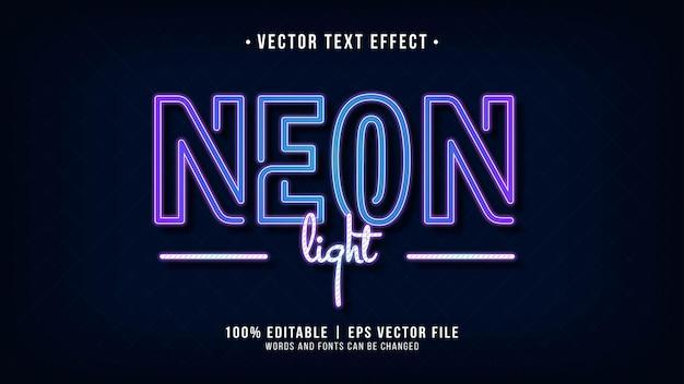 Efeito de texto de luz neon com tema azul-roxo