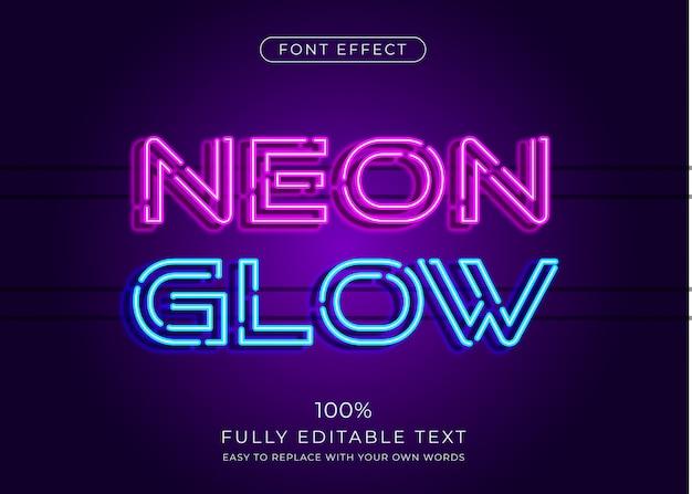 Efeito de texto de luz neon. estilo de fonte editável