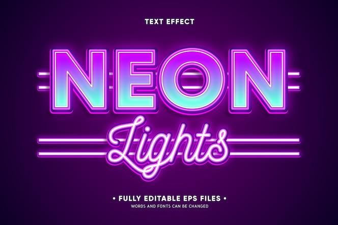 Efeito de texto de luzes de neon