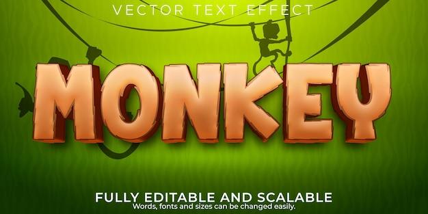 Efeito de texto de macaco, selva editável e estilo de texto selvagem