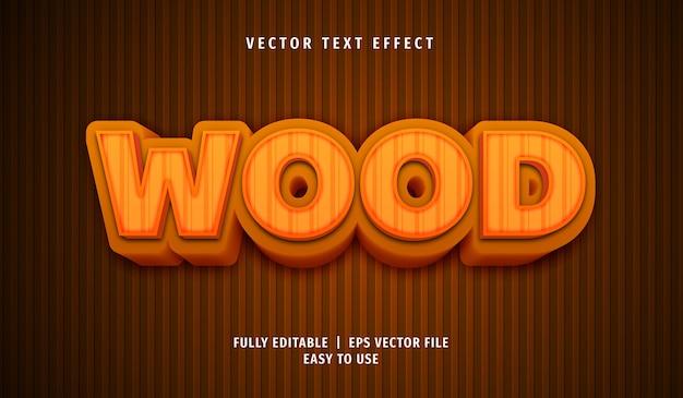 Efeito de texto de madeira 3d, estilo de texto editável