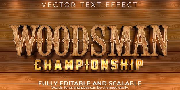 Efeito de texto de madeira; estilo de texto editável para madeireiro e lenhador