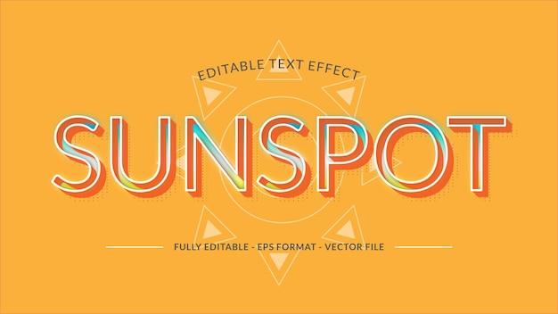 Efeito de texto de manchas solares feito com cores brilhantes e vibrantes