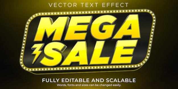 Efeito de texto de mega venda, compras editáveis e estilo de texto de oferta