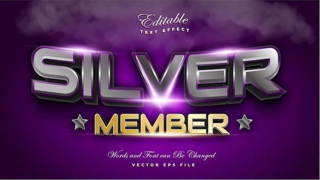 Efeito de texto de membro prata