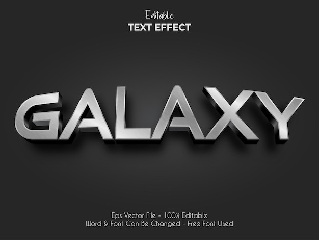 Efeito de texto de metal prateado galáxia. vetor de efeito de texto editável