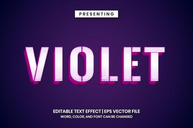 Efeito de texto de metal violeta branco brilhante