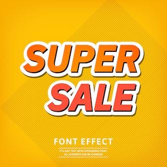 Efeito de texto de modelo de banner super venda. fundo brilhante