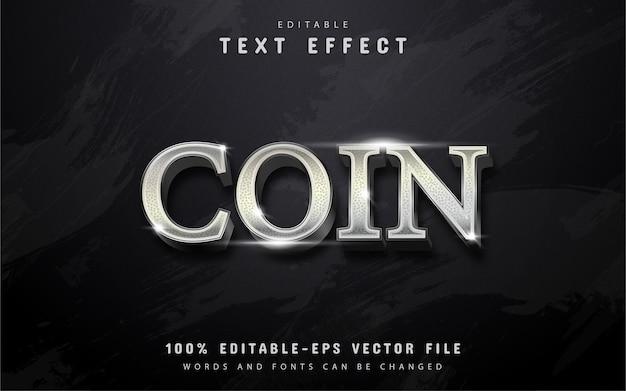Efeito de texto de moeda de prata