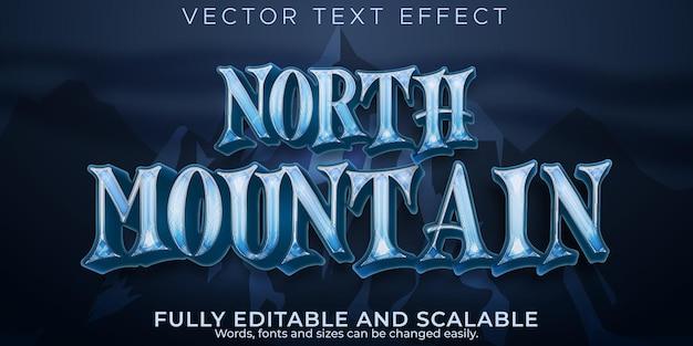 Efeito de texto de montanha com neve, norte editável e estilo de texto de caminhada
