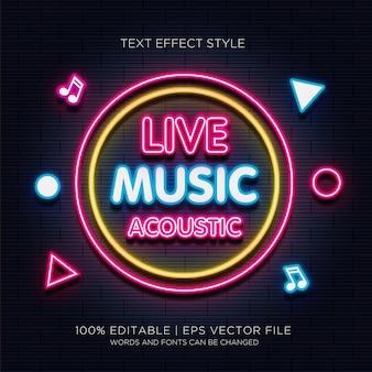 Efeito de texto de música ao vivo acústico neon