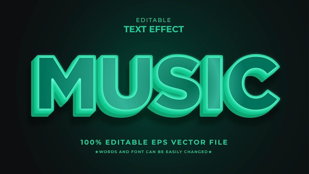Efeito de texto de música editável humor noturno