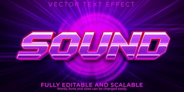 Efeito de texto de música sonora, neon editável e estilo de texto retro