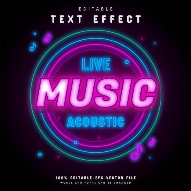 Efeito de texto de néon acústico de música ao vivo