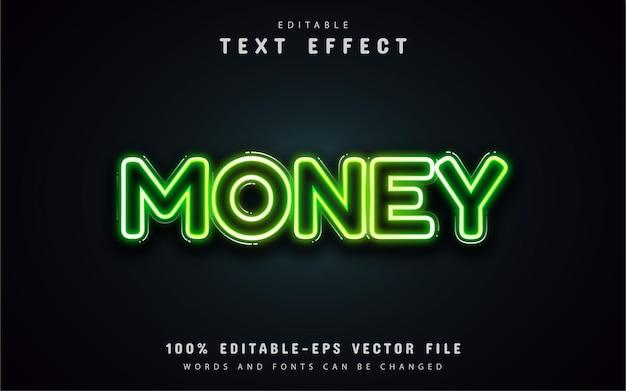 Efeito de texto de néon de dinheiro